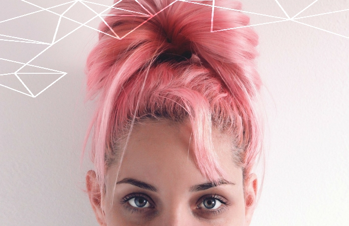 """'alt=""""Young funky woman with pink hair""""'."""