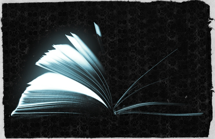 "'alt=Open book with pages full of light""'."