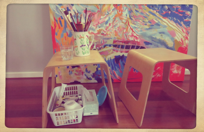 Linda Cull's painting set up
