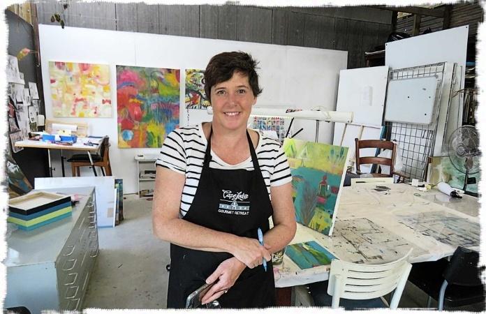 Fi Wilkie artist in her studio