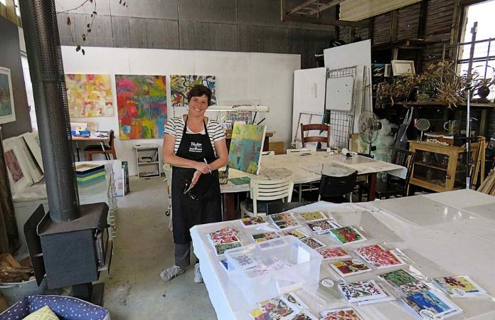 Fi Wilkie in her art studio