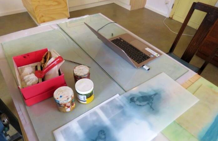 Emily Jackson's art table