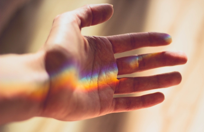 Refracted light on a hand