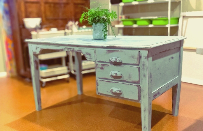 Chalk painted art table