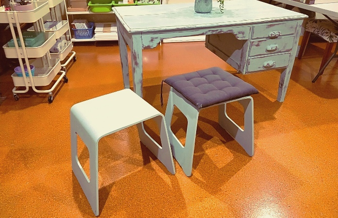 2 Ikea stools chalk painted