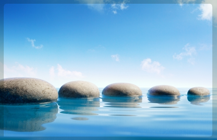 5 stepping stones in water